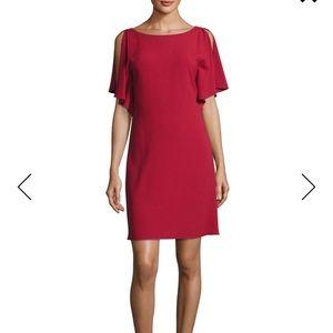 Theory Andzelika Rosina Boat-Neck Crepe Red Dress